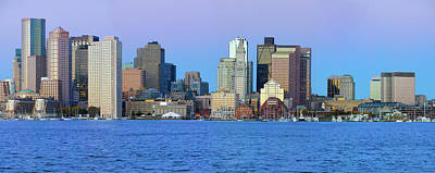 Panoramic Of Boston Harbor Art Print