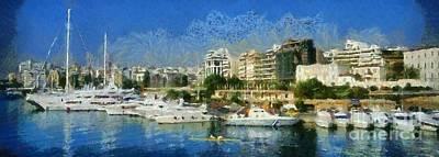 Sports Paintings - Panoramic painting of Pasalimani port by George Atsametakis