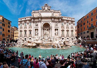 Photograph - Panoramic View Of Fontana Di Trevi In Rome by George Atsametakis