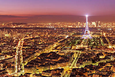 Photograph - Paris Cityscape At Night / Paris by Barry O Carroll