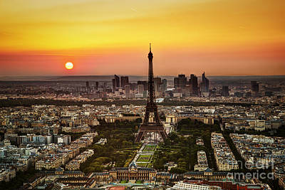 Paris Skyline Royalty-Free and Rights-Managed Images - Paris France at sunset by Michal Bednarek