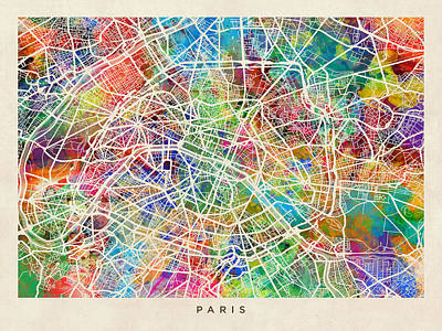 French Map Digital Art - Paris France Street Map by Michael Tompsett