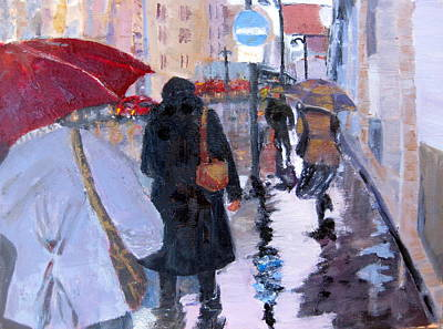 Painting - Paris In The Rain by MaryAnne Ardito