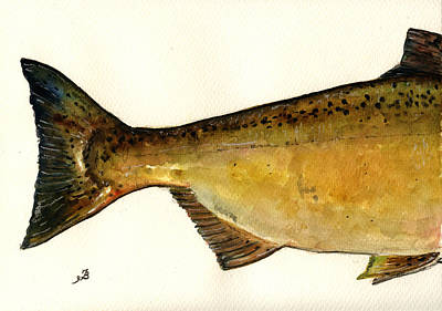 Salmon River Painting - 2 Part Chinook King Salmon by Juan  Bosco