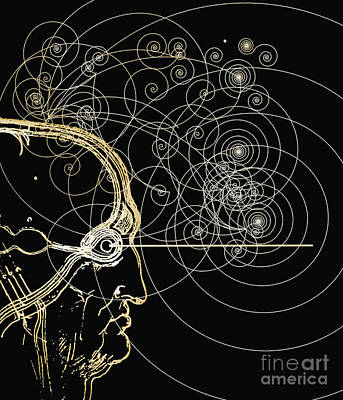 Particle Tracks And Head Art Print by Mehau Kulyk