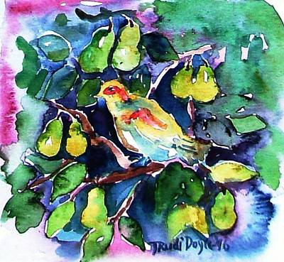 12 Days Of Christmas Painting - Partridge In A Pear Tree  by Trudi Doyle