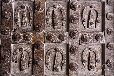 Gatehouse Photograph - Patterns On The Metal Door Of The Citadel In Aleppo by Robert Preston