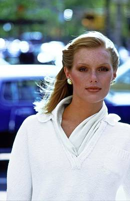 Photograph - Patti Hansen Wearing A White Sweater by Arthur Elgort