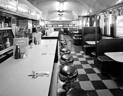 Stools And Counter Photograph - Pawtucket Diner by Mountain Dreams