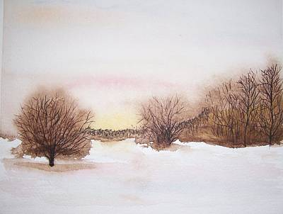 Sunset On A Snowy Wood And Field. On Stopping By Woods On A Snowy Evening Painting - Peace by Robert  ARTSYBOB Havens