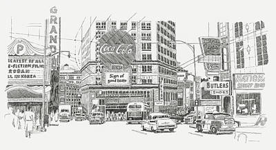 Coca Cola Sign Drawing - Peachtree Atlanta - 1949 by Shawn Vincelette