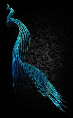 Fractal Digital Art - Peacock by Betsy Jones