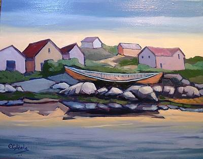 Wall Art - Painting - Peggy's Cove by Edward Abela