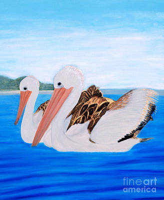 Painting - Pelicans.   Inspirations Collection. by Oksana Semenchenko