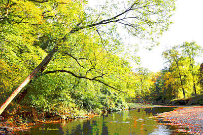 Pennypack Digital Art - Pennsylvania Autumn Pennypack Creek Philadelphia Pennsylvania by A Gurmankin
