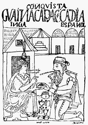 Inca Drawing - Peru Spanish Conquest by Granger
