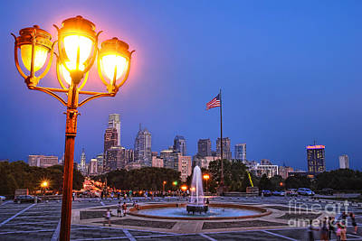 Streetlight Photograph - Philadelphia At Dusk by Olivier Le Queinec