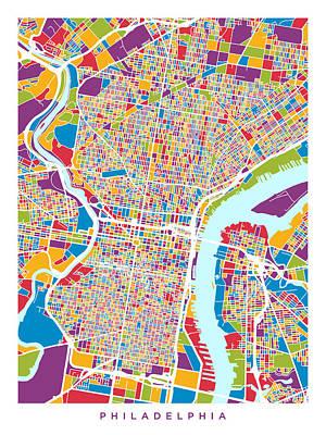 Philadelphia Pennsylvania Street Map Art Print by Michael Tompsett
