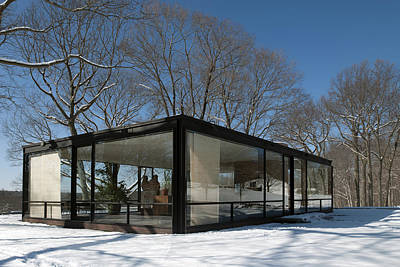Connecticut Winter Photograph - Philip Johnson's Glass House by Carol M Highsmith