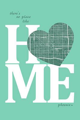 Heart Digital Art - Phoenix Street Map Home Heart - Phoenix Arizona Road Map In A He by Jurq Studio