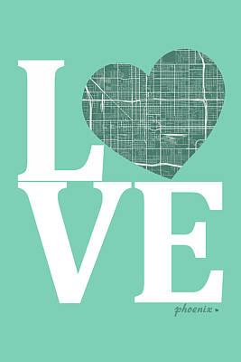 Phoenix Digital Art - Phoenix Street Map Love - Phoenix Arizona Road Map In A Heart by Jurq Studio