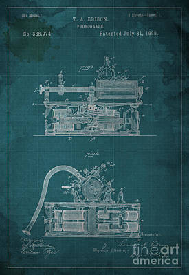 Phonograph Drawing - Phonograph Edison Patent Blueprint 2 by Pablo Franchi