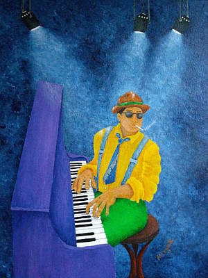 Honky Tonk Painting - Piano Man by Pamela Allegretto
