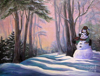 Painting - Piggyback Ride In Snow by Gretchen Talmage Allen