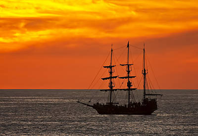 Mood Photograph - Pirate Ship At Sunset by Marcia Colelli