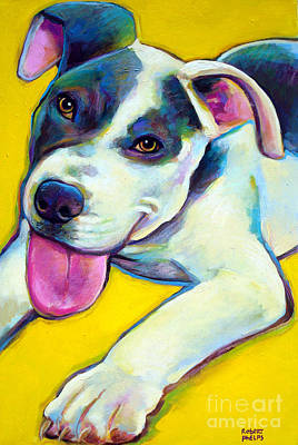 Art Print featuring the painting Pit Bull Puppy by Robert Phelps