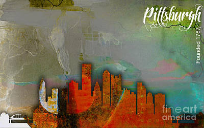 Pittsburgh Skyline Watercolor Art Print by Marvin Blaine