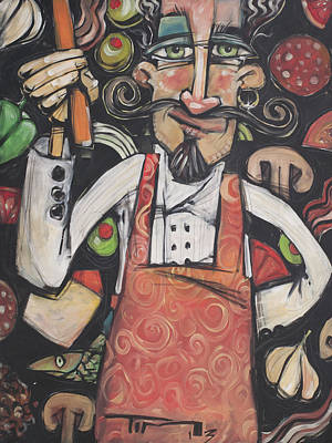 Painting - Pizza Chef by Tim Nyberg