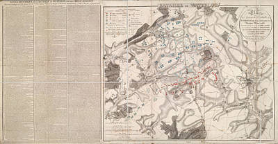 Belgium Photograph - Plan Of The Battle Of Waterloo by British Library