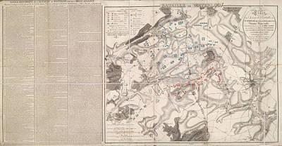 Plan Of The Battle Of Waterloo Art Print
