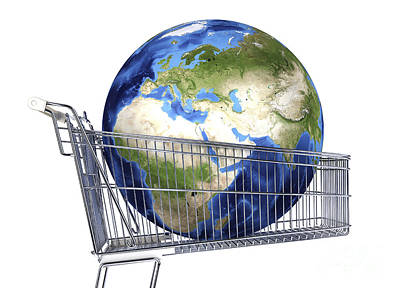 Relief Map Digital Art - Planet Earth Inside Supermarket Trolley by Leonello Calvetti