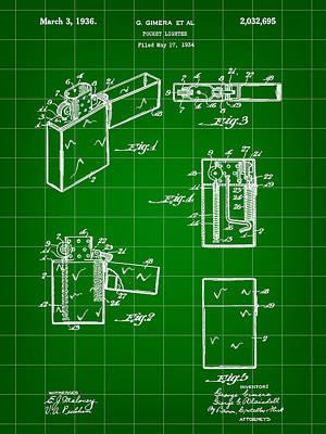 Pocket Lighter Patent 1934 - Green Art Print by Stephen Younts
