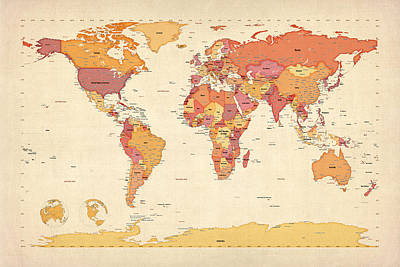 Political Map Of The World Map Art Print by Michael Tompsett
