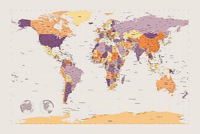 Cartography Digital Art - Political Map Of The World by Michael Tompsett