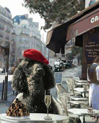 Poodle In Paris Art Print