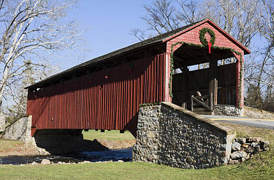 Poole Forge Covered Bridge Print by Sally Weigand