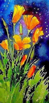 Painting - Poppies At Midnight by Esther Woods