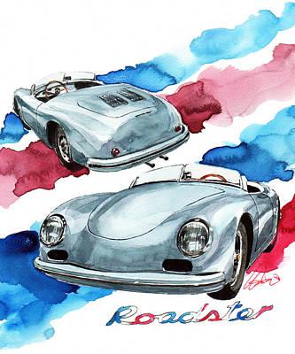 Roadster Painting - Porsche 356 American Roadster by Yoshiharu Miyakawa