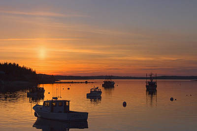 Maine Coast Photograph - Port Clyde Maine Fishing Boats At Sunset by Keith Webber Jr