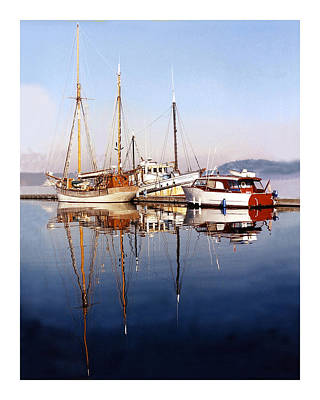 Port Orchard Marina Reflections Original by Jack Pumphrey
