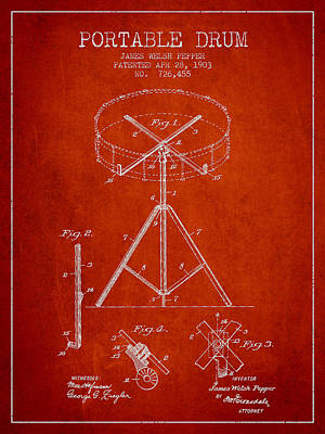 Drummer Digital Art - Portable Drum Patent Drawing From 1903 - Red by Aged Pixel
