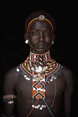 African Waist Beads Photograph - Portrait Of Young Samburu Man by Toby Adamson