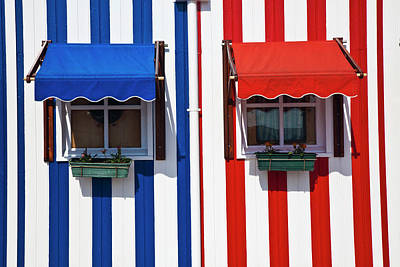 Portugal, Costa Nova, Candy-striped Art Print by Terry Eggers