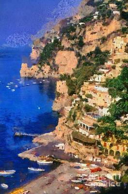 Historical Painting - Positano Town In Italy by George Atsametakis