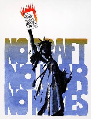 Burning Statue Drawing - Poster Anti-war, C1975 by Granger
