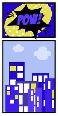 Comic Strip Painting - Pow by Anna Quach